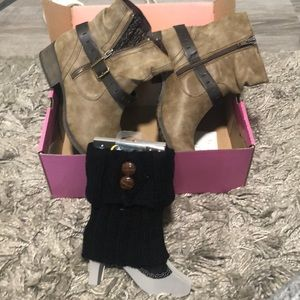 Brown Distressed Boots with leg warmers